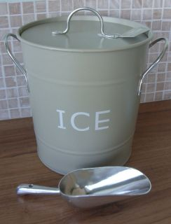 Shabby Vintage Style Metal Tin Ice Bucket with Lid & Scoop Olive /Grey