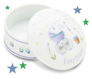 NEW BABY BOY PORCELAIN FIRST CURL/ TOOTH KEEPSAKE BOX by PAVILION