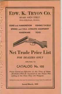 Catalog Net Trade Price List Edw.K.Tryon Phil Guns Fishing Tackle