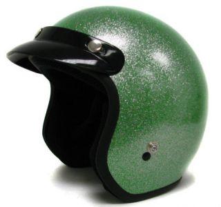 Green Metal Flake Motorcycle Helmet Vintage Open Face Racer Chopper~S