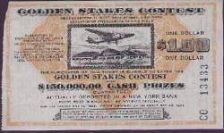 1936 USA GOLDEN STAKES CONTEST LOTTERY TICKET W/PLANE