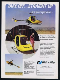 1972 Rotorway Twin Seat Scorpion Helicopter Vintage Print Ad
