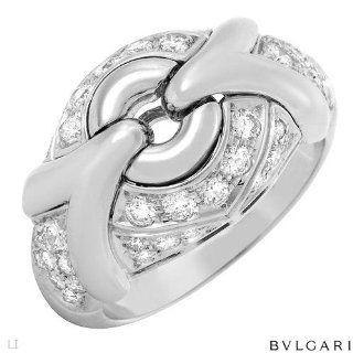 Bulgari 18K White Gold 1.25 CTW Color F G VVS2 Diamond Ladies Ring