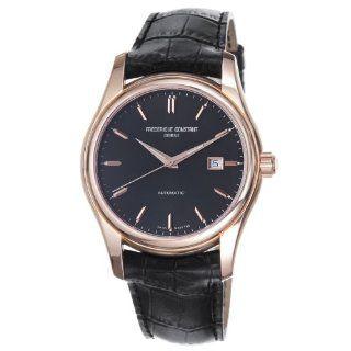 Frederique Constant Mens FC 303G6B4 Index Goldtone Black Dial Watch