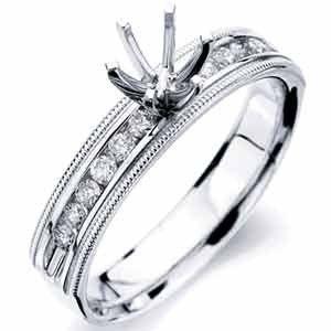 14Kt White Gold Jovial Diamond Engagement Ring, Semi mount Setting