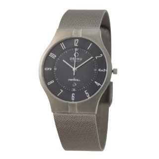 Obaku Mens V122XTLMT Silver Stainless Steel Quartz Watch with Black