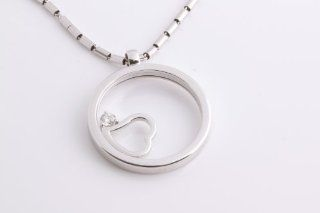 New ROBERTO COIN 18K White Gold and Diamond Circle Heart Necklace
