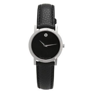 Movado Womens 606087 Museum Black Leather Strap Watch Watches