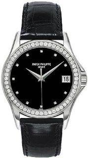 Patek Philippe Calatrava 18kt White Gold Diamond Black Mens Watch