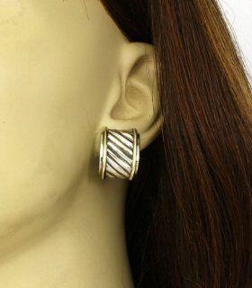 David Yurman Sterling Silver & 14K Gold Ladies Earrings David Yurman