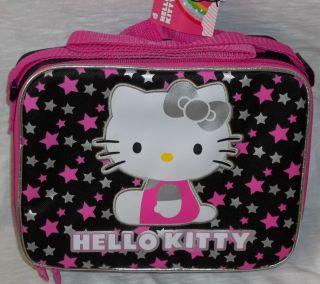 HELLO KITTY LunchBox NEW Sanrio Lunch Bag Purse Black Stars