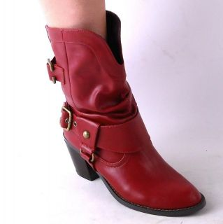 NEW WOMENS RED BLOCK HEEL WESTERN BOOTS SIZE 7.5