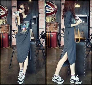 Womens Long Casual Asymmetric Dress Wording Maxi T shirt dresses