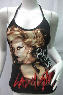 DIY TANK TOP LADY GAGA PUNK HARD ROCK HALTER T SHIRT M