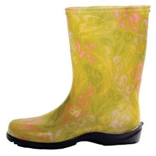 SLOGGERS TULIP GREEN PRINTED GARDEN BOOTS RAIN BOOTS WOMENS SIZES 6 11