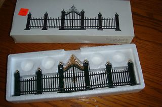 56 HERITAGE VILLAGE WROUGHT IRON GATE & FENCE SET of 9 PIECES  NEW