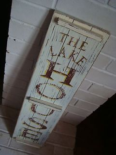 THE LAKE HOUSE RUSTIC WOOD SHUTTER SIGN Primitive Log Cabin Lodge Home