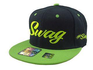 NEW VINTAGE SWAG FLAT BILL SNAPBACK BASEBALL CAP HAT BLACK/NEON GREEN