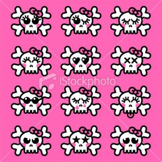 Emo girl skull emoticons Royalty Free Stock Vector Art Illustration