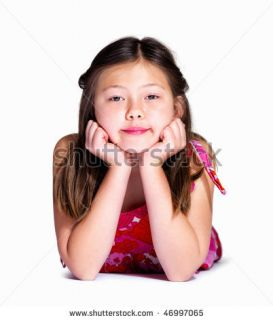 Cute Chubby Little Girl Relaxing Isolated On White Background Stock