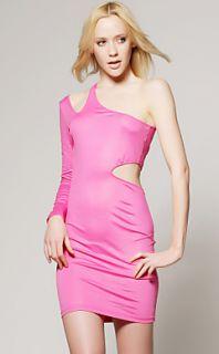 magenta um vestido de corte do ombro / inspirado em celebridades