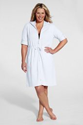 Lands End   Womens Plus Size Roll Sleeve Terry Zip Cover up customer