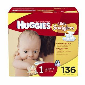 Buy Huggies Little Snugglers Diapers, Size 1, up to 14 lbs, 136 ea