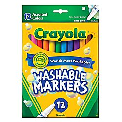 Crayola® Washable Markers, Thin Line, Assorted Classic Colors, Box Of