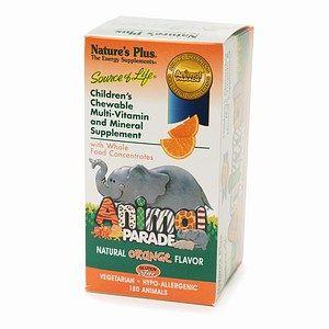 Natures Plus Animal Parade Childrens Chewable Multi Vitamin, Orange