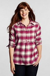 Lands End   Womens Plus Size Pattern Pintuck Flannel Tunic customer