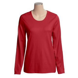 Cotton Scoop Neck T Shirt   Long Sleeve (For Women)   Save 62%