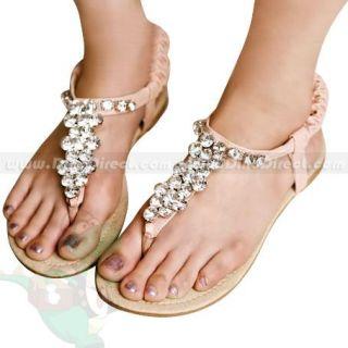 Wholesale Women Rhinestone Embellished Flat Sandals Shoes