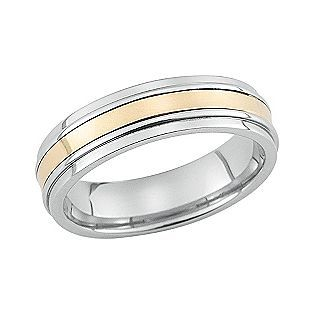 Stainless Steel And 10K Gold Mens Band Ring   Jewelry   Wedding