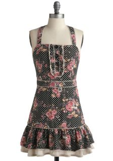 Wink and a Flounce Dress   Black, Multi, Polka Dots, Floral, Buttons