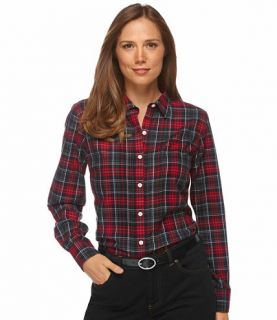 Wrinkle Resistant Pin Tucked Shirt, Plaid Casual   at L
