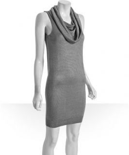 Halston Heritage silver knit cowl neck sleeveless dress   up