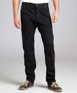 Prada black denim button fly straight leg jeans