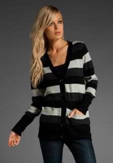 MICHAEL STARS Cashmere Stripe V Cardigan in Black/Charcoal/Light