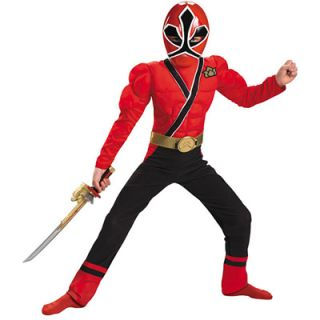 Power Rangers Samurai Red Ranger Muscle Boys Costume   Size Small (4 6