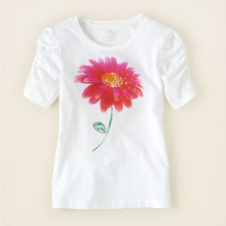 girl   short sleeve tops   ruched photo art tee  Childrens Clothing