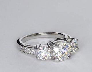 Three Stone Pave Diamond Ring in Platinum  Blue Nile