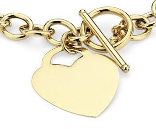 Toggle Heart Tag Bracelet in 14k Yellow Gold  Blue Nile