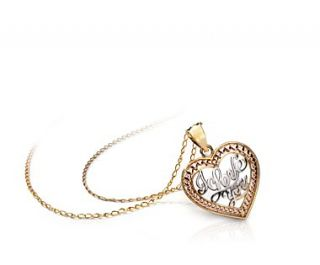 Love You Heart Pendant in 14k Yellow, White and Rose Gold  Blue