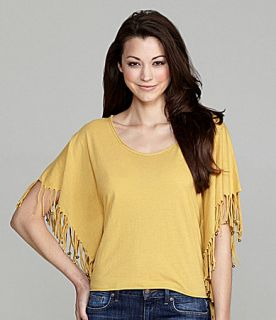 Buffalo David Bitton Fringe Sleeve Top  Dillards