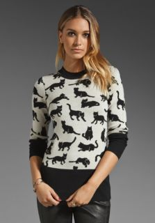 10 CROSBY DEREK LAM Kitty Print Pullover in Black/Soft White at