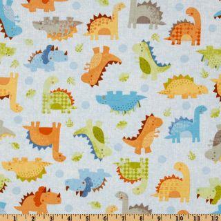 Babysaurus Baby Dinos All Over Blue   Discount Designer Fabric