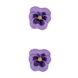 Novelty Button 3/4 Pansy Flower Purple   Discount Designer Fabric