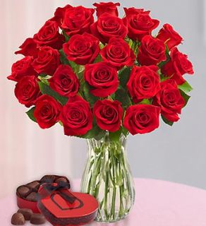 Two Dozen Red Roses + Free Vase from 1 800 FLOWERS 100185