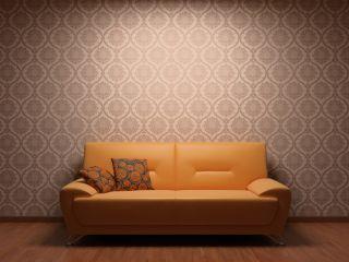 Sala decorada com papel de parede. Perceba como ele deu vida ao