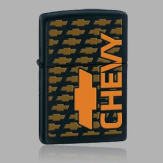 Zippo 28011 Classic Chevy Logo Orange on Black Matte Lighter US